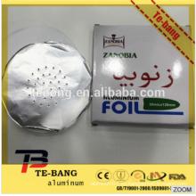 2015 Precio de fábrica El grado superior pre-cortó el papel de aluminio perforado del aluminio del hookah de la hoja del papel de aluminio del shisha de la cachimba del papel de aluminio para shisha