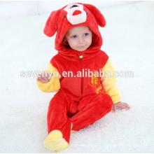 Suave bebé franela mameluco Animal Onesie traje de trajes de pijamas, ropa para dormir, lindo paño rojo, bebé con capucha toalla