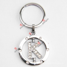 Drehender Buchstabe K Rhinestone-Metall Keychain
