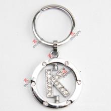 Rotating Letter K Rhinestone Metal Keychain
