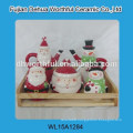 Popular item cute christmas Santa shape ceramic utensil holder