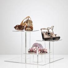 Supports d'affichage acrylique à niveaux pour chaussures