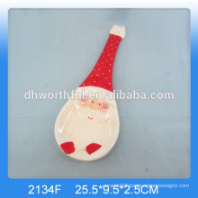 Personalized ceramic christmas spoon holder with santa painting