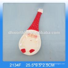 Персонализированный держатель керамической рождественской ложки с росписью Санта