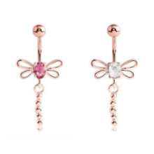 Rose Gold Double Jeweled Belly Ring Libelle