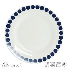 Assiette en céramique de 27cm avec motif de décalques à pois bleus
