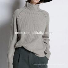 PK18CH007 lady cashmere pulôver de moda de alta pescoço solto pescoço tartaruga pescoço solto mulher camisola