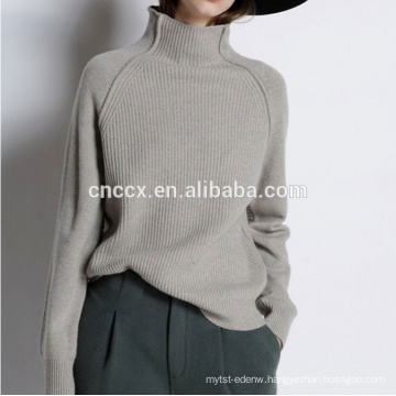 PK18CH007 lady cashmere pullover fashion high neck loose neck turtle neck loose woman sweater