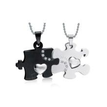 Beau pendentif noir et blanc, double pendentif médaillon design de bijoux