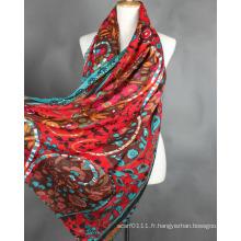 Écharpe en soie imprimée de fleur de Viscose de dames de mode (YKY1022-1)