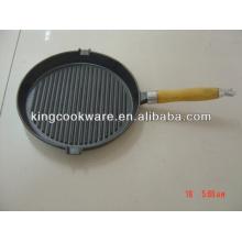 Panela de grelha de ferro fundido temperado com alça destacável
