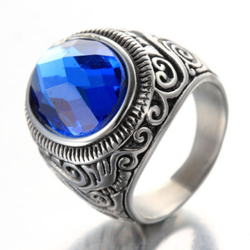 Mode blauwe retro patroon coole edelsteen ring