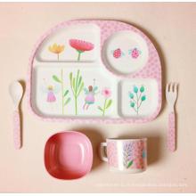 (BC-CS1074) Ensemble de vaisselle en fibre de bambou naturel pour enfants