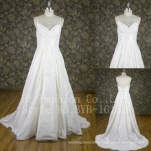 A-Line Princess V-neck Sweetheart Andar de comprimento Vestido de noiva com Preguear