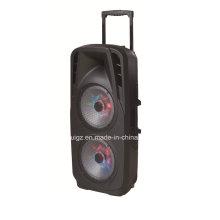Orador dobro exterior da bateria 15inch com luz F73D do diodo emissor de luz de Bluetooth
