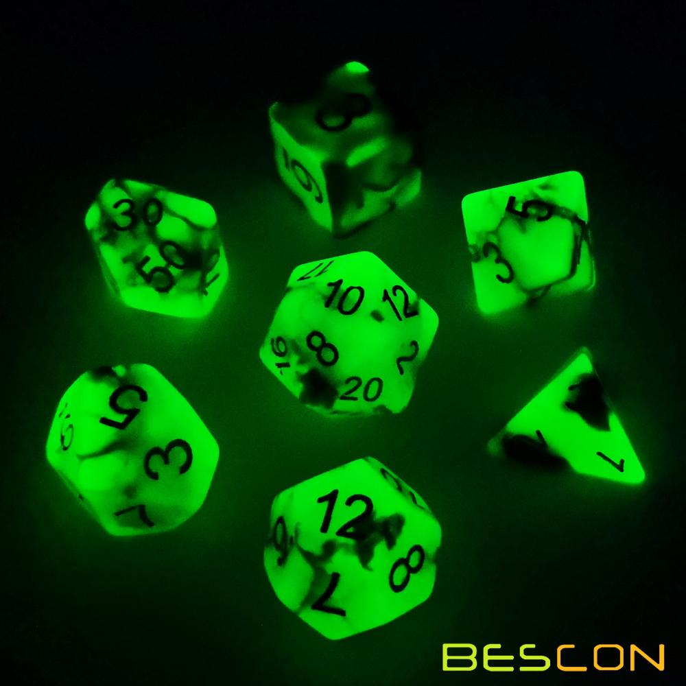 Bescon Two-Tone Glow-in-the-Dark Polyhedral Dice Set SPOOKY ROCKS, Luminous RPG Dice Set d4 d6 d8 d10 d12 d20 d% Brick Box Pack