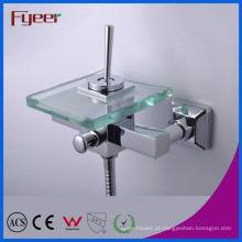 Faucet do misturador do banho do vidro do punho da alavanca de Fyeer único com desviador