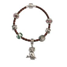 Kundenspezifisches gesponnenes Armband, populäres jugendlich Armband, schwarzes Lederarmband