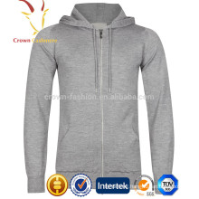 Men's Zip Up Cashmere Plain Hoodie
