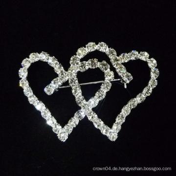 2015 neue Herzform Kristall Brosche Pins für Brautkleid