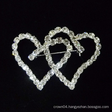 2015 new heart shape crystal brooch pins for bridal dress