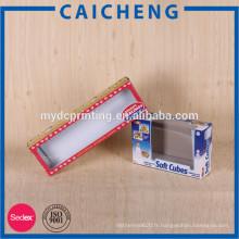 Boîte de papier jouet en carton gris avec boîte d'emballage de fenêtre