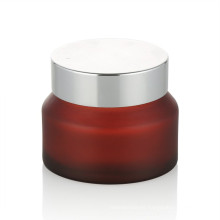15/20/30/50 ml frasco de crema de vidrio esmerilado de color rojo cuidado de la piel frasco de crema de vidrio con tapa de aluminio tarro cosmético tapa al por mayor