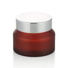 15/20/30/50 ml rouge verre dépoli crème pot de soins de la peau verre crème pot avec bouchon à vis en aluminium cosmétique pot en gros