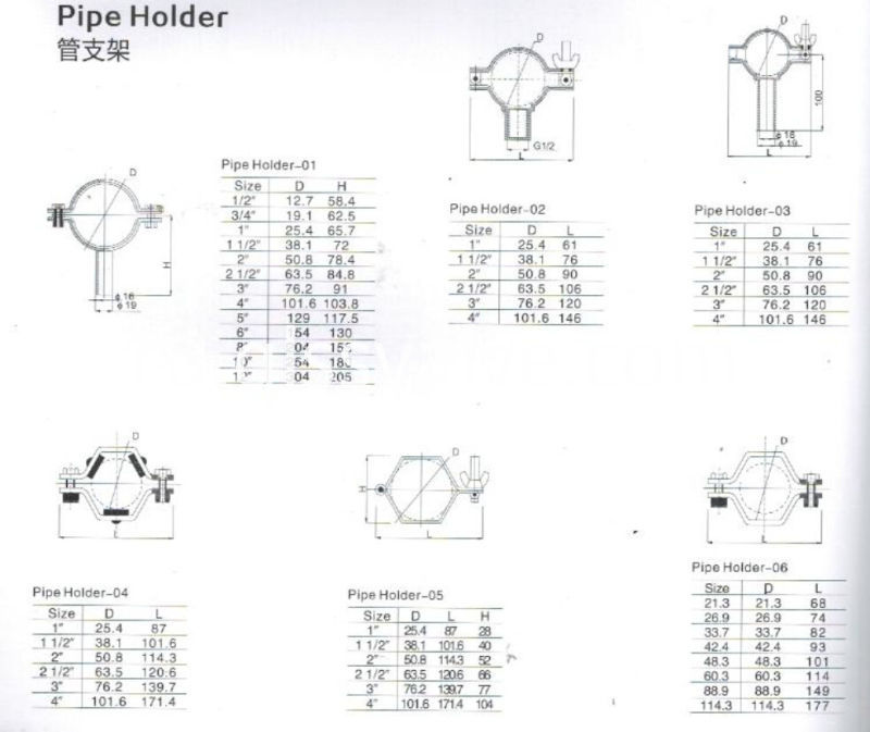 304-316L-Sanitary-Stainless-Steel-Pipe-Holder-with-Tube
