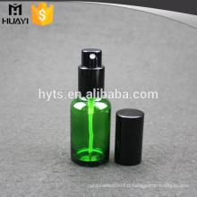 30 ml en gros vert bouteille en verre d'huile essentielle avec pompe en aluminium