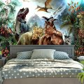 Dinosaur Tapestry Wall Hanging Wild Anicient Animals Wall Tapestry Tropical Rain Forest Jungle Natural Wall Blanket Home Decor