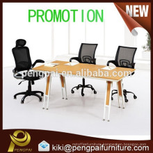 Small wooden negotiation table with steel leg
