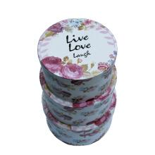 Papel De Impresión De Lema De La Flor Caja De Regalo Redonda Set / Calidad Ronda Cajas De Presentación De Embalaje
