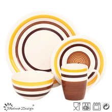 Plato de cena de 16PCS Orange and Brown Circles