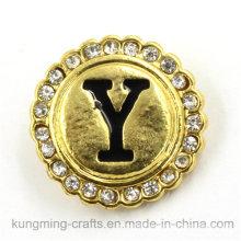21 mm de oro en forma de letra en forma de diamante botón de presión para pulsera DIY