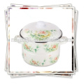 printed enamel steamer with full decal and enamel handle enamel lid knob and rose decal