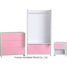 Pink Kids Bedroom Furniture Set with Wardrobe Dresser (BD17)