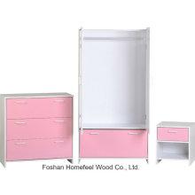 Pink Kids Conjunto de móveis de quarto com guarda-roupa Dresser (BD17)