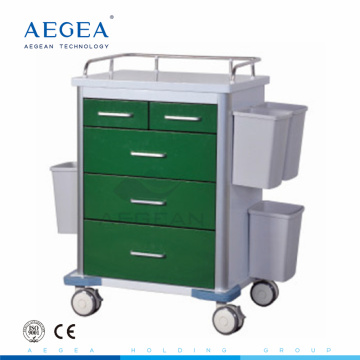 AG-GS002 With five drawers dark green series power coating steel medicine trolley