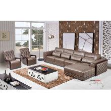 L forma de sofá de couro Real couro móveis, sofá de América, (659)