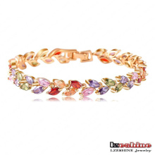 18k Gold Plated Leaf Zircon Women Bracelets