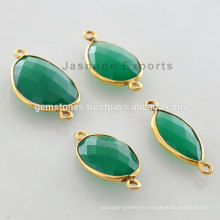 Wholesale Vermeil Dios Plated Green Onyx Bisel Enlaces Vermeil Gemstone Conector Proveedores