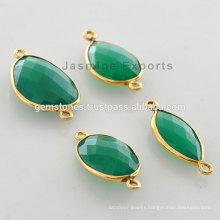 Wholesale Vermeil God Plated Green Onyx Bezel Links Vermeil Gemstone Connector Suppliers