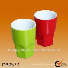Logotipo personalizado vitrificada xícaras de café de cerâmica sem alça