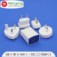 Safety Certificated USB Adaptateur universel AC / DC 10W Wallmount Multi-Plugs interchangeables