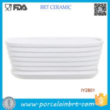 Boîte à plantes en pot en céramique blanche à nervures