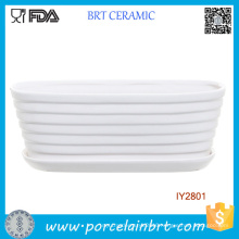 White Ceramic Ribbed Tub Design Pot Garden Plant Box