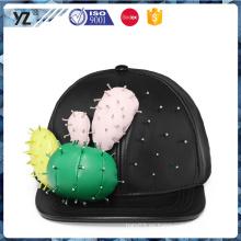 El sombrero de cuero del snapback de la alta calidad con hace en fábrica del casquillo de China