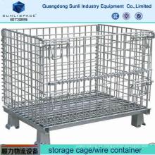 Contenedor de la jaula de almacenamiento de malla de alambre de acero de almacén