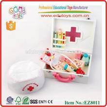 2016 Kids Play School Toys Wooden Doctor Kit, Funny Medicine Wooden Doctor Set for kids